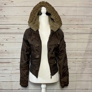 AE Outfitters Brown Puffer Fur Hood Puffer Coat XS